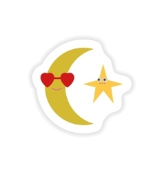 Stylish paper sticker on white background moon and vector