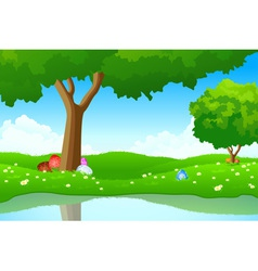 landscape with easter eggs vector image