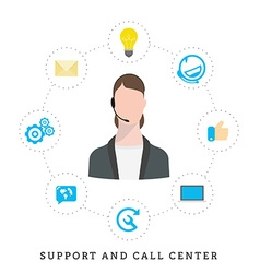 Icons for call center or hotline call center vector image