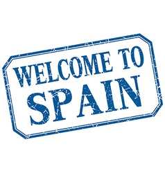 Spain - welcome blue vintage isolated label vector
