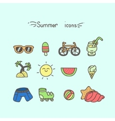 Set of cute summer icons vector