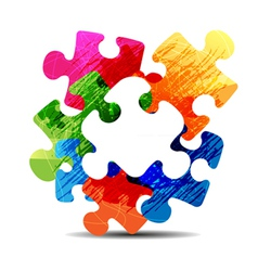 abstract puzzle shape vector image