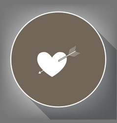 Arrow heart sign white icon on brown vector