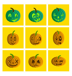 Assembly flat halloween pumpkin emotions vector