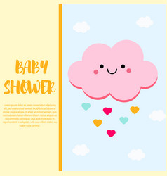 Baby shower card design template with cute pink vector