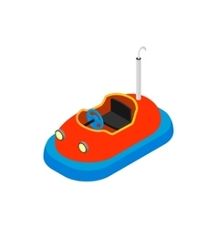 Bumper cars in amusement park isometric 3d icon vector