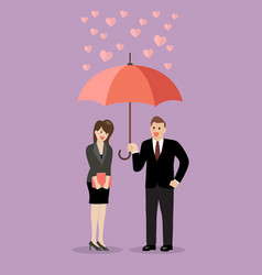 businessman flirt with a woman under an umbrella vector image vector image