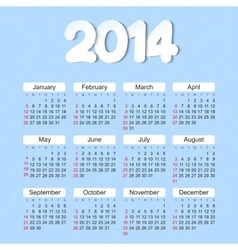 Calendar 2014 year vector image