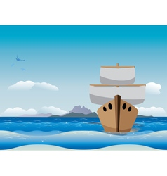 Cartoon boat in the sea vector image