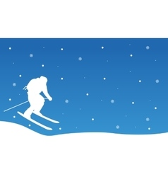Christmas landscape people ski collection vector