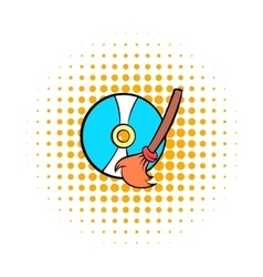 Clean up hard drive icon comics style vector