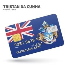 Credit card with tristan da cunha flag background vector