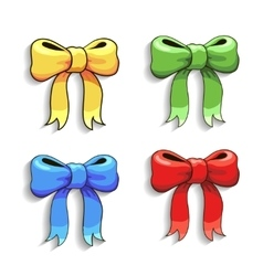 Cute colorful bows set isolated on white vector image