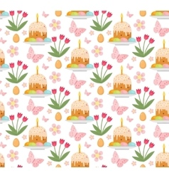 Easter seamless pattern with cake eggs and tulips vector