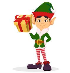 elf holding yellow gift box vector image vector image