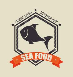 Fish silhouette sea food menu vector