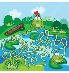 Frogs maze game vector