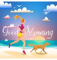 Girl and dog running on the beach in the morning vector image