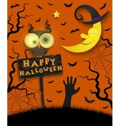 Halloween holiday crazy owl vector image vector image