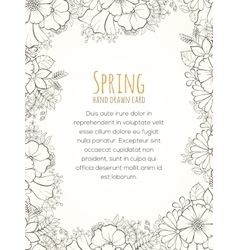 Hand drawn flower invitation card vector