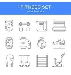 Line icons gym and fitness vector