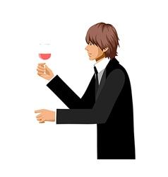 man hold wine vector image