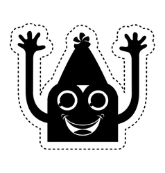 monster comic character with party hat vector image vector image