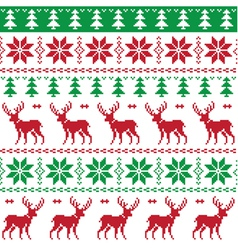 Nordic seamless pattern deer and christmas tree vector