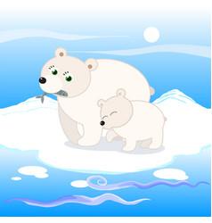 polar bear family vector image vector image
