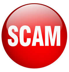 Scam red round gel isolated push button vector