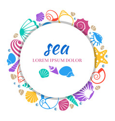 sea round banner design - colorful seashells vector image