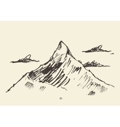 Sketch of a mountain peak vector