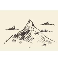 Sketch of a mountain peak vector