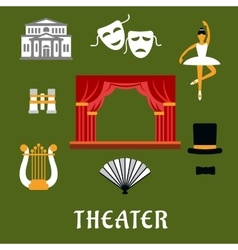 Theater and art flat icons vector image