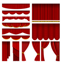 theather red blind curtain stage isolated on a vector image
