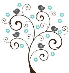 Tree floral birds vector