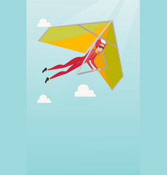 young caucasian woman flying on hang-glider vector image