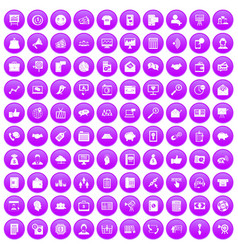 100 viral marketing icons set purple vector image vector image