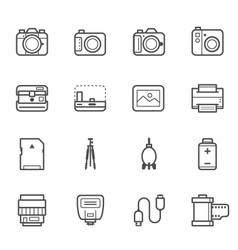 Camera and camera accessories icons vector