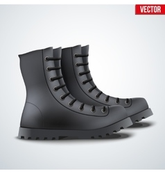 Black Leather Army Boots vector image