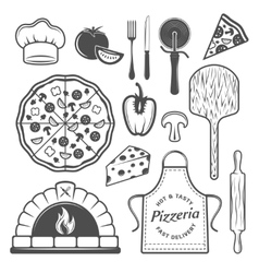 Pizzeria Monochrome Elements Set vector image