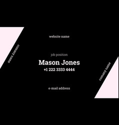 Black and pink business card template strict style vector