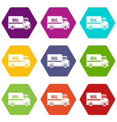 mail truck icon set color hexahedron vector image