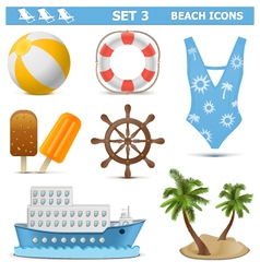 Beach Icons Set 3 vector image