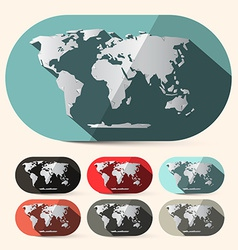 Flat design paper world map set vector