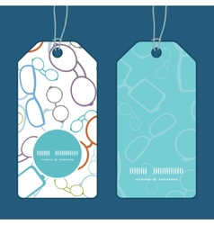Colorful glasses vertical round frame pattern tags vector