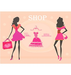 Fashion girls shopping silhouettes vector