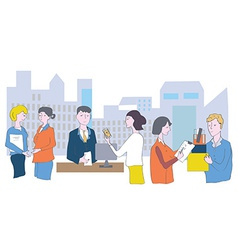 Business office and staff - meetings conversations vector