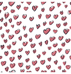 Seamless hearts hand drawn pattern vector