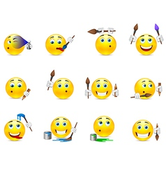 Smilies artist with a brush vector